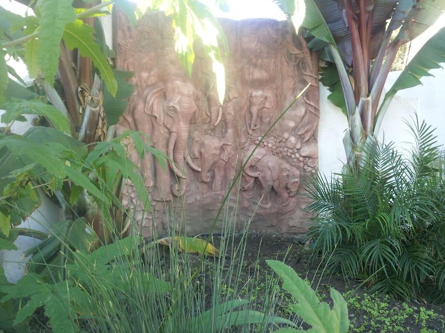 Elephant Mural in front garden.
