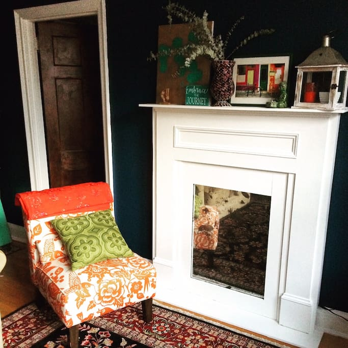 Faux fireplace in the living room. Made it myself!