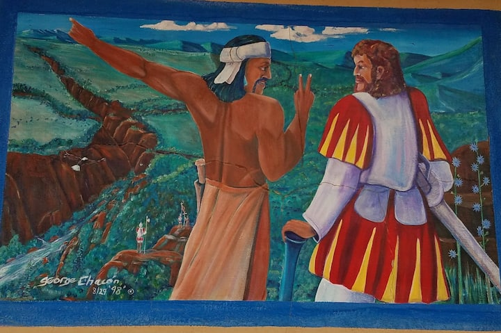 Study the history murals to find clues