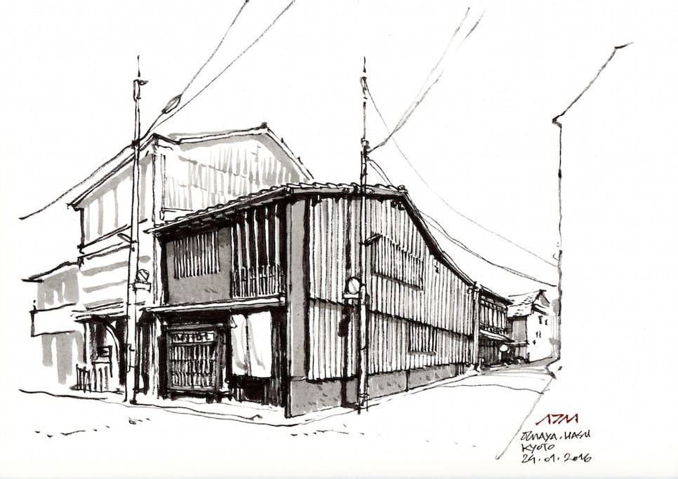 This is a sketch we used to guide us with the renovations of the ochaya.  (Sketch by Arnaud de Meyer)