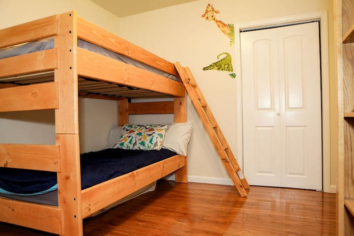 Solid wood bunk beds (twin) for comfort and security.