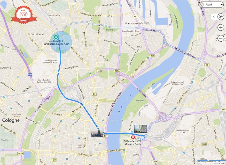 The quickest way to get to the cathedral (7 min) and Messe/trade  fair (10 min) is by S-bahn train.