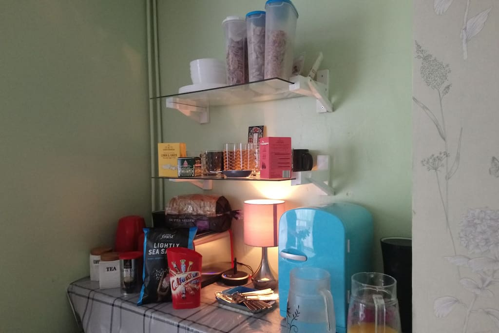 Kettle, mini fridge, toaster, cereal and breakfast goodies and music speakers in your room