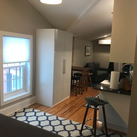 This vantage point is taken from the sleeping area.  It is a long apartment .  Hardwood floors and area carpets for your convenience.