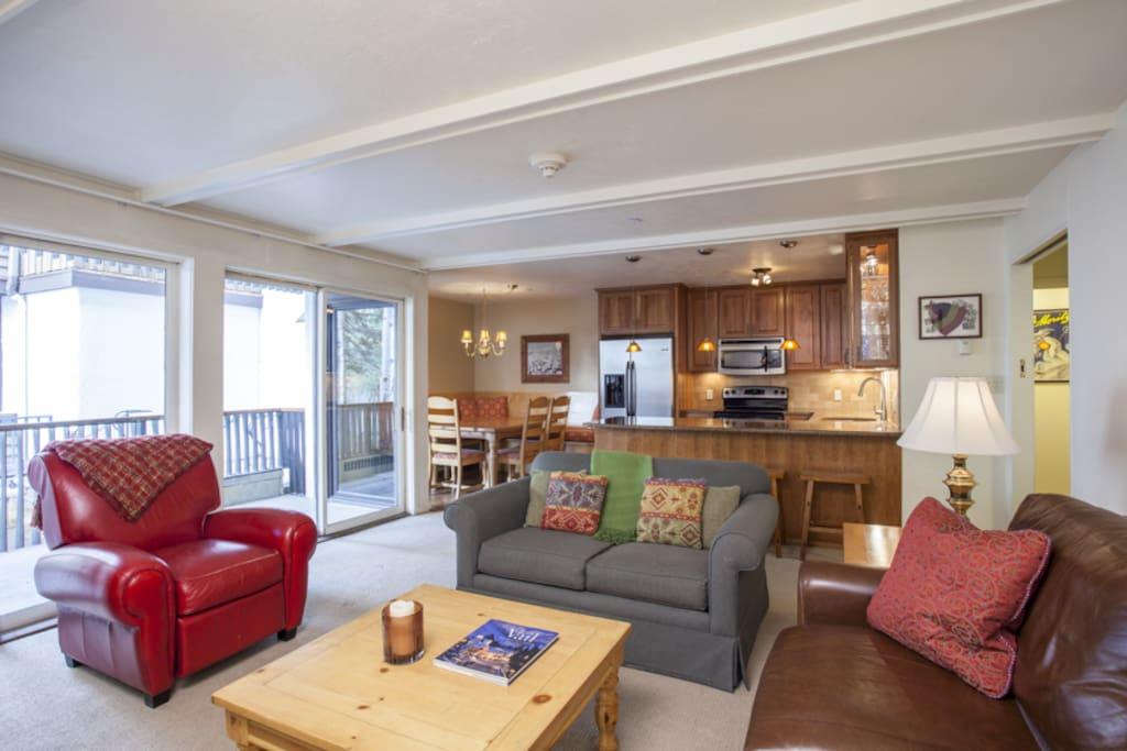 Open concept kitchen- living area