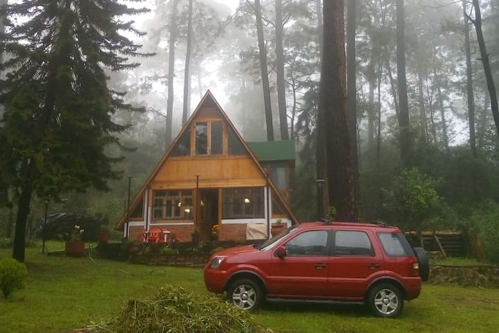 Preciosa cabaña estilo chalet en medio del bosque