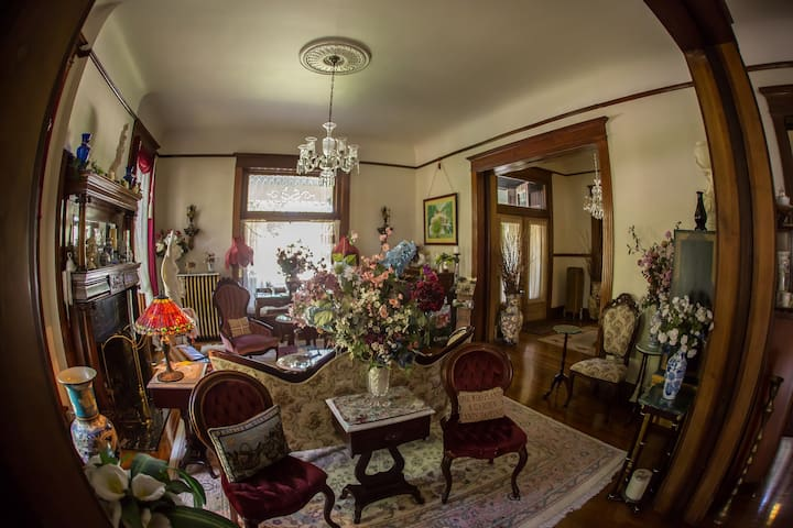 Take a trip back in time in the Victorian Parlor.