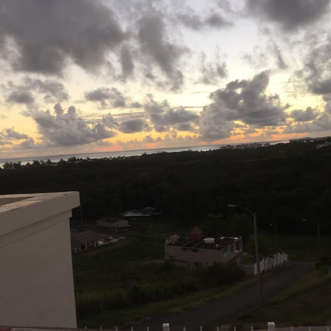 Sunset view from upstairs balcony