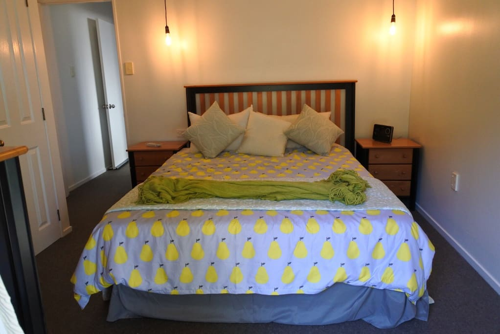 queen bed, double wardrobe, usb charger, French doors open onto private deck