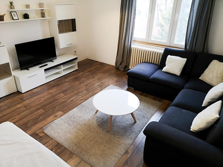 Central 84m apartment, free parking