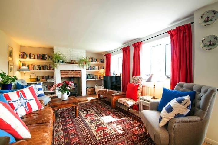 Light, sunny sitting room with wood burner