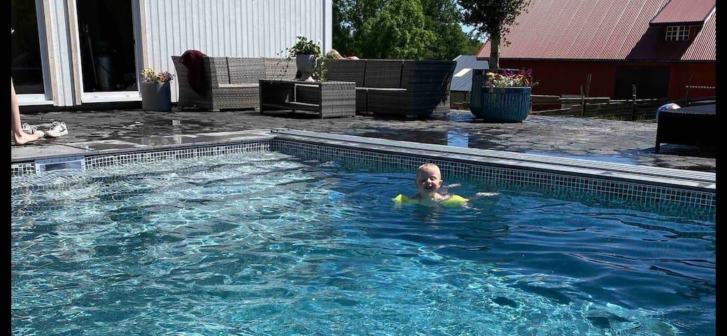 Liten stuga på hästgård med pool.
