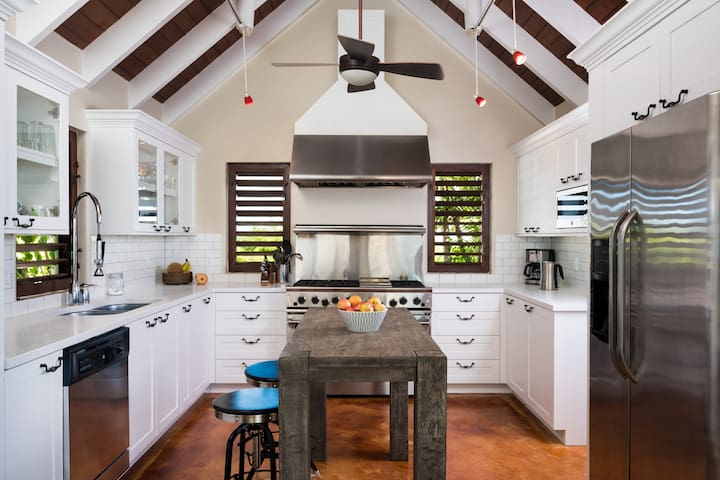 Kitchen has everything including 6 burner stove