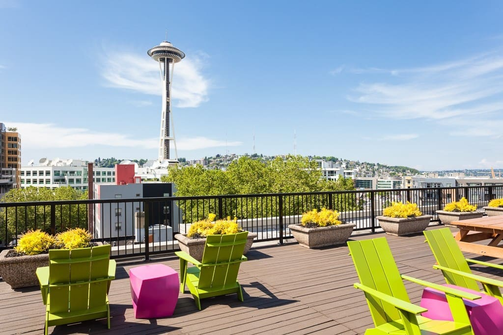 Roof top bbq deck with views of the Space Needle and DT Seattle