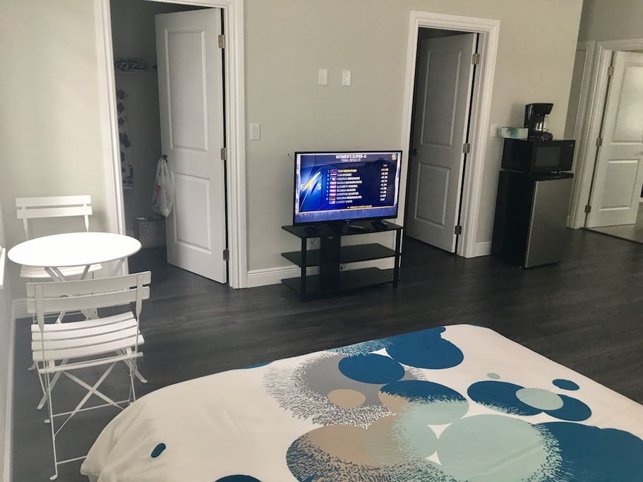 Private TV, small table, small fridge, microwave and coffee maker  ,
