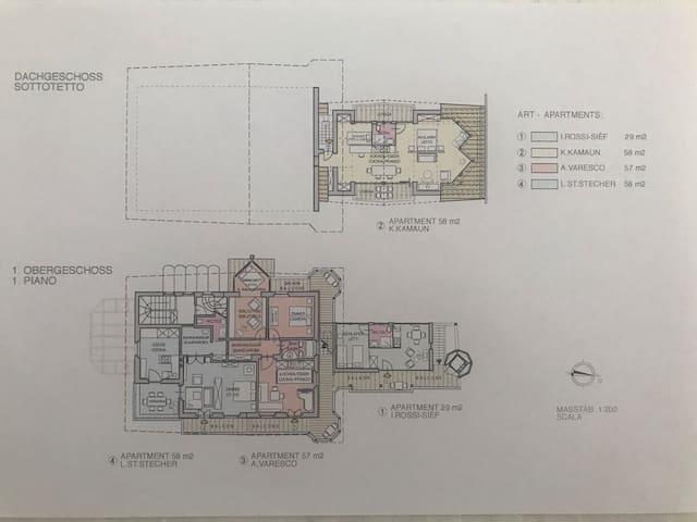 Grundriss der 4 Art-Apartments