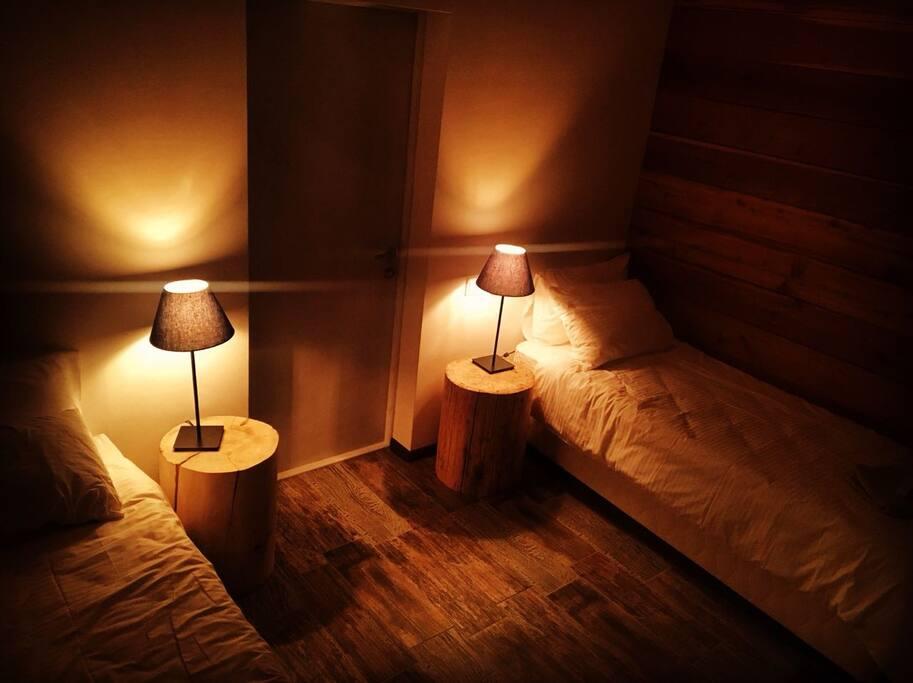 Спальная комната с двумя односпальными кроватями