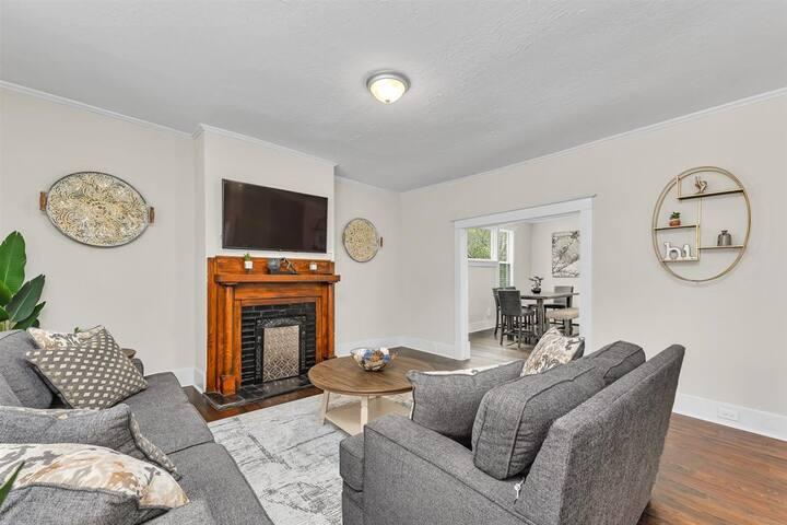 Open living room with Huge Smart TV