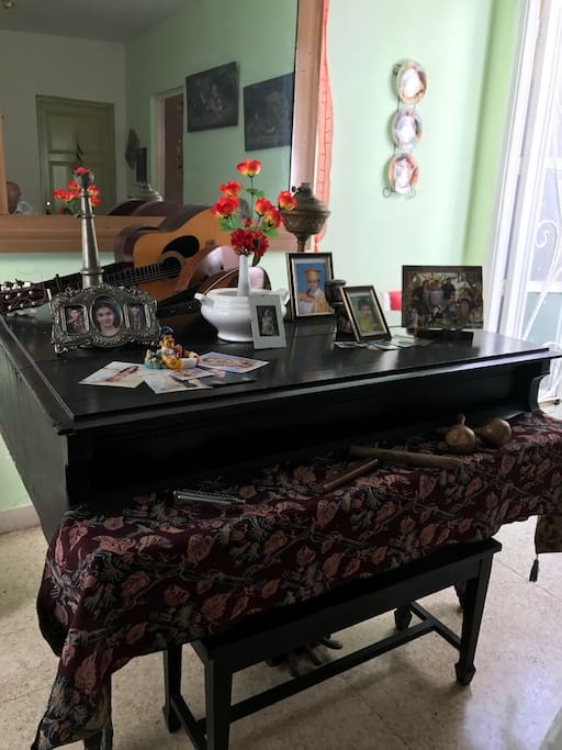 Grand piano and other musical instruments at your disposal in our dining room