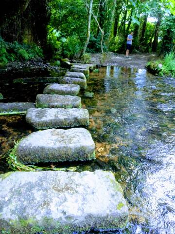 The beautifully clear river Cober, on your doorstep. Stepping stones take you across and on to  the stunning woodland footpath.