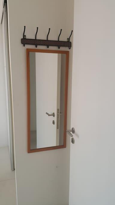 Mirror and Coat Hooks