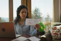 Another scene from the TV commercial. This lady must not like getting the mail very much...