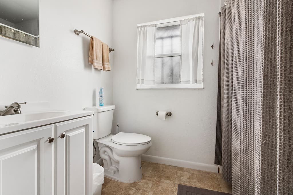 Shared bathroom down the hall.  Shower & tub with shampoo, conditioner and bodywash available.