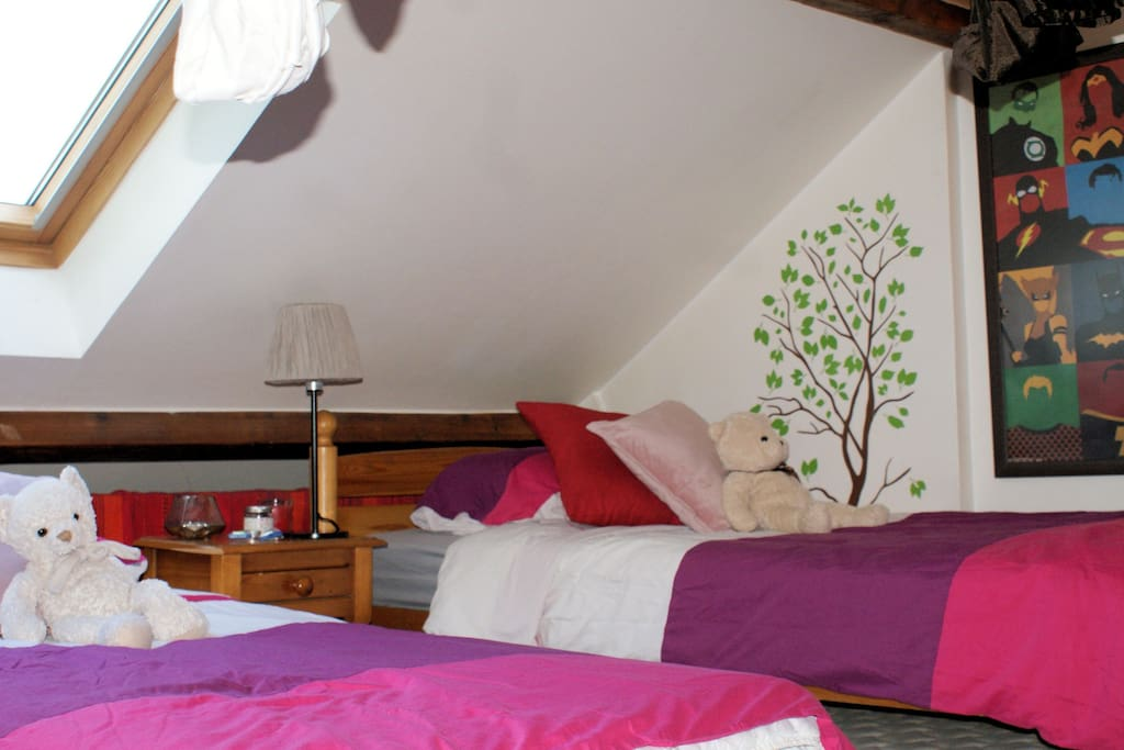 Upstairs/Your twin beds (for 2)
