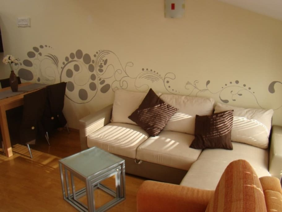 Living room (the couch is extendable for an extra guest)
