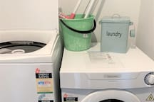 The laundry is just inside the entrance.