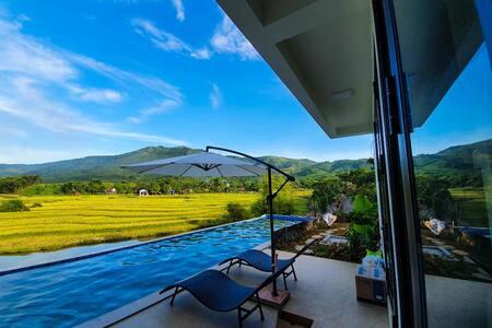 Villa bể bơi riêng biệt ngắm ruộng bậc thang/BBQ