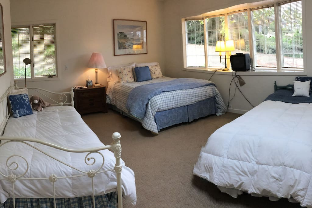 The bedroom is in a quiet and private wing of the house..