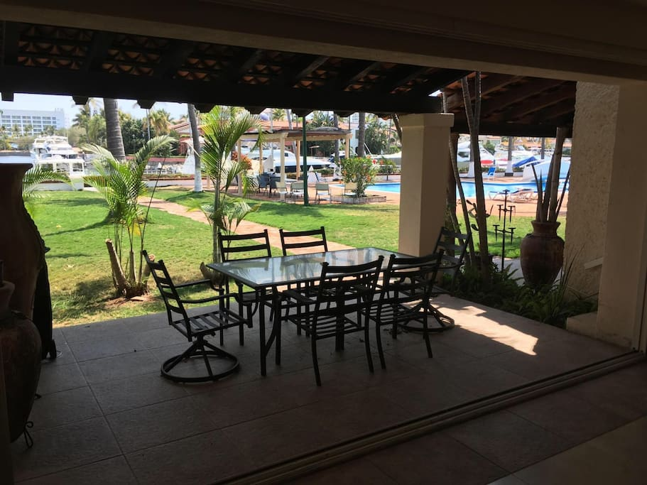 Main floor walk out patio with marina view