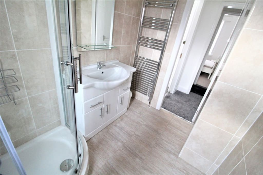 Modern and clean bathroom with shower cubicle
