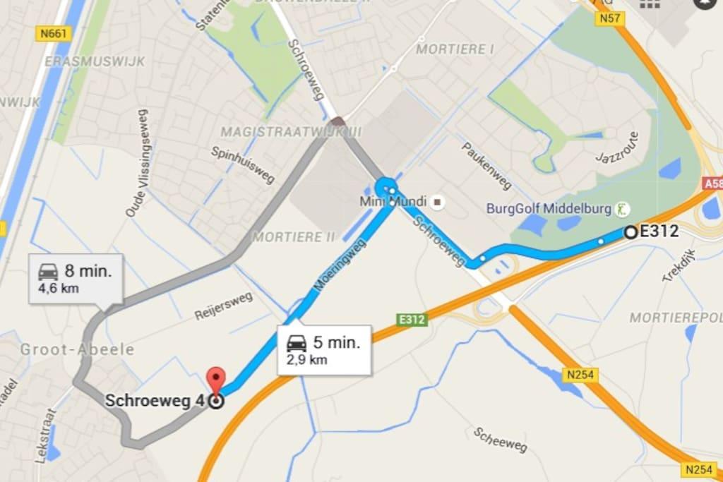De route vanaf de A58.