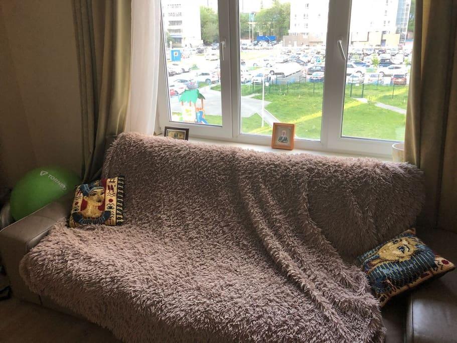 Зал, кожаный диван раскладывается, образует 2 спальных места