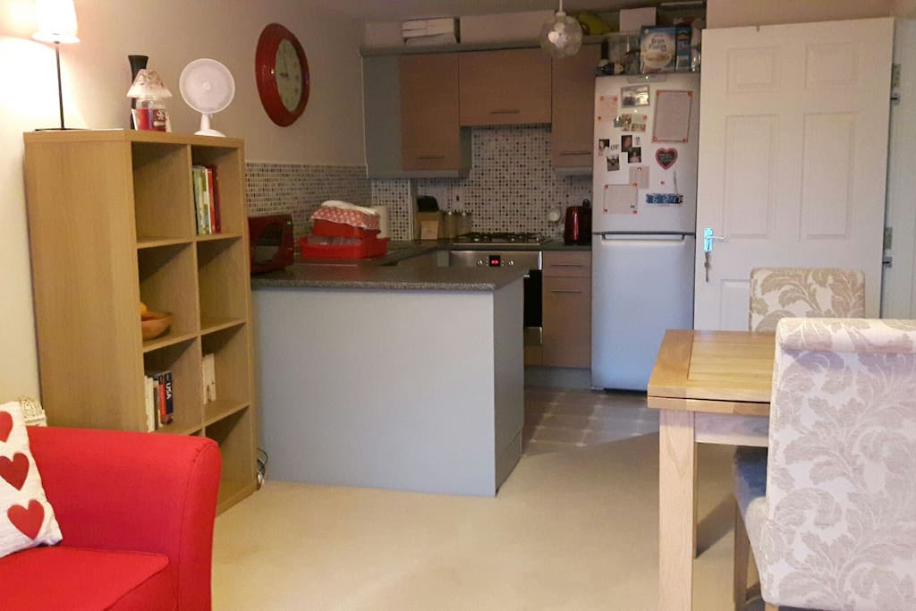 View of the kitchen and main living space.