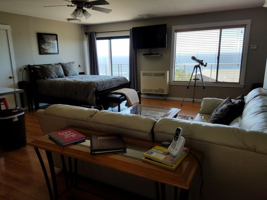 View of ocean from inside the cottage