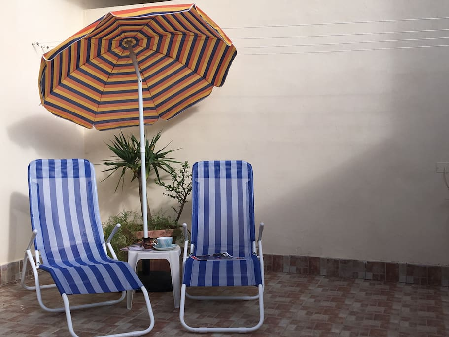 Just purchased - two new deckchairs for the outdoor area. Please note that in Winter these will not be made available if rainy weather is predicted.