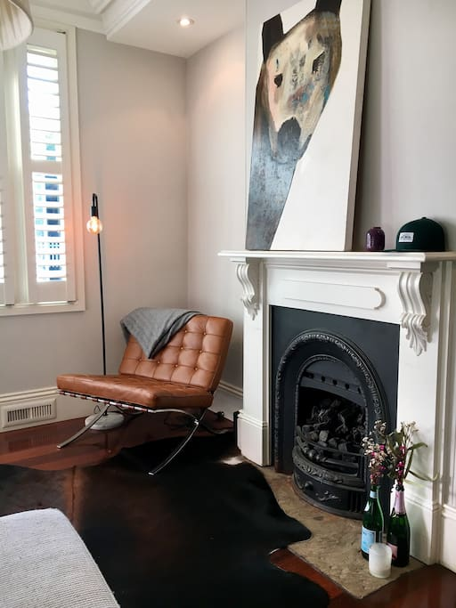Lounge room with gas fire.