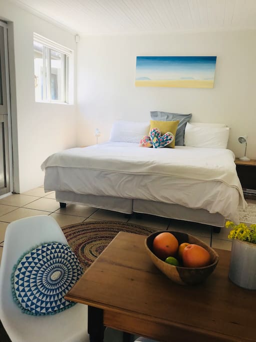 Bright and sunny open-plan apartment with ensuite bathroom kitchenette and own private patio