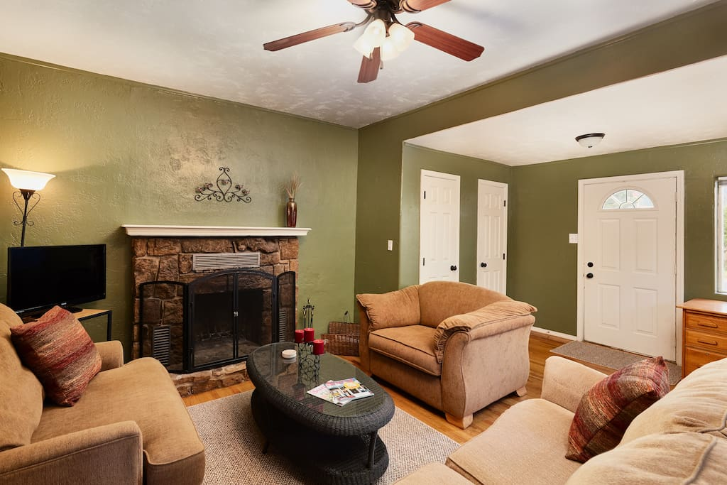 The main entrance leads to the comfy living room.