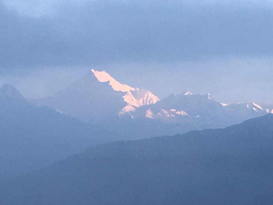 View of MT Kanchendzongna 3rd highest mountain in the world from our rooftop