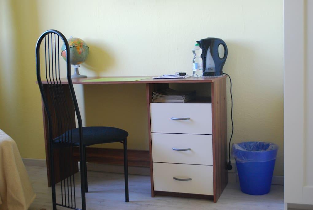 Arbeitsplatz im Schlafzimmer