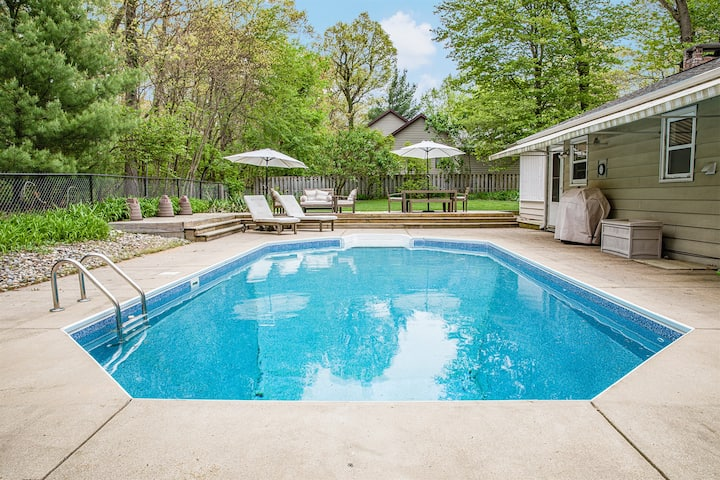 Family-Friendly Home near Lake Michigan w/Private Outdoor Pool, WiFi, Fireplace