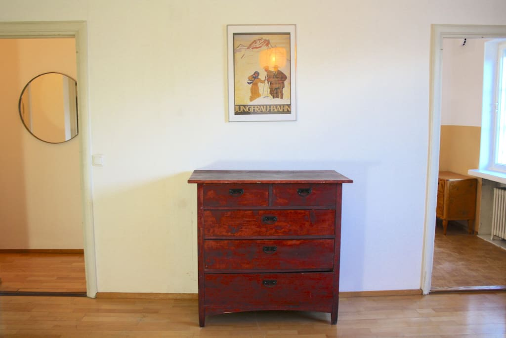 The apartment is furnished minimally, leaving lots of space.