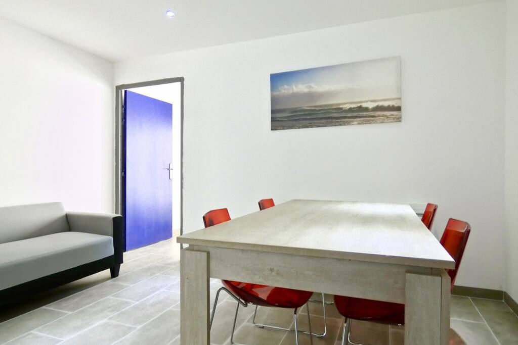 Bright living with dining table