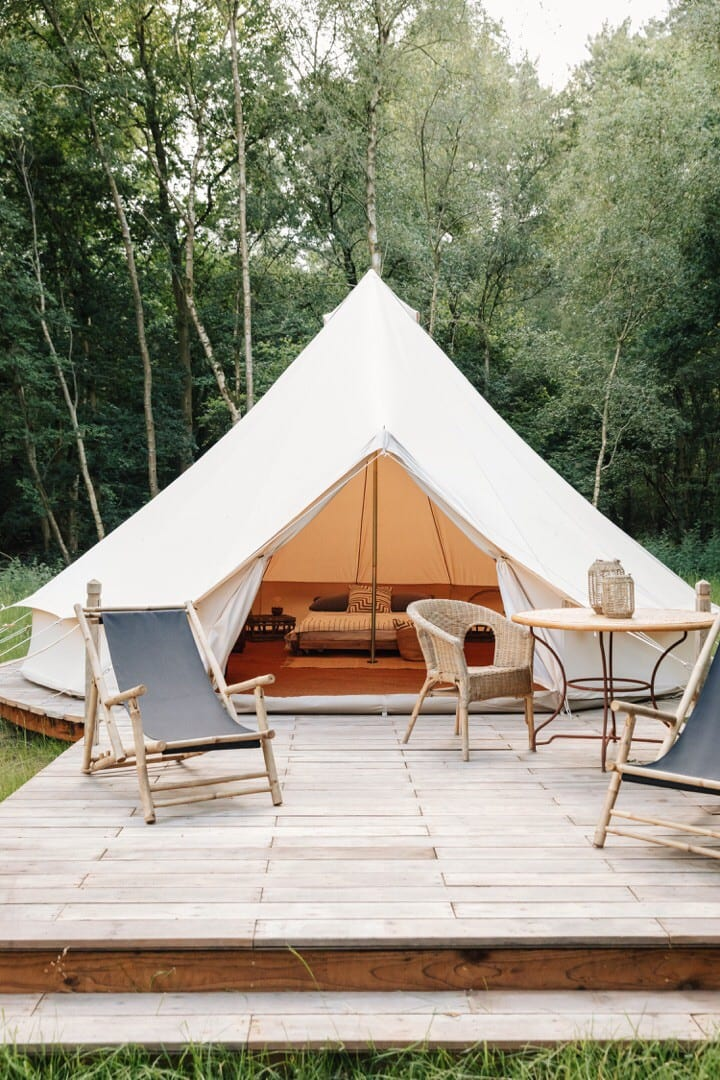 Luxury canvas camping set within a private park