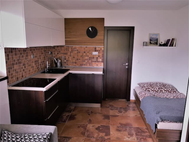 Kitchen and single bed