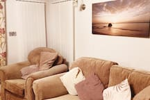 Lounge with free standing sofas.